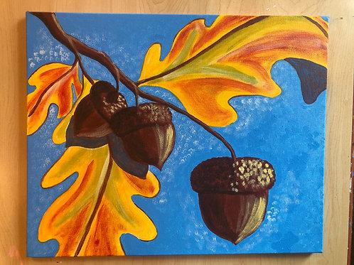 """Acorns"" Acrylic Painting on 16 x 20 Canvas"