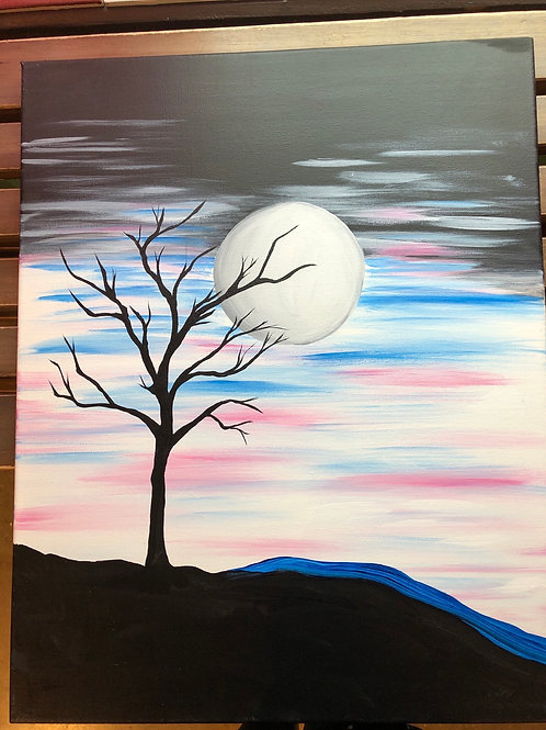 """Spooky Tree"" Acrylic Painting on 16 x 20 Canvas"