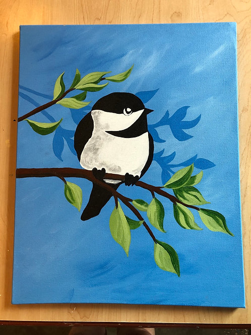 """""""Chick-A-Dee"""" Acrylic Painting on 16 x 20 Canvas"""