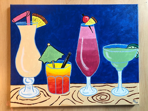 """""""It's Five O'Clock Somewhere"""" Acrylic Painting on 16 x 20 Canvas"""