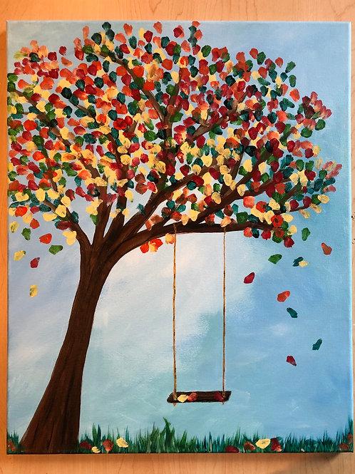 """Tree w/ Swing"" Acrylic Painting on 16 x 20 Canvas"