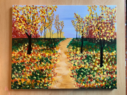 """Autumn Path"" Acrylic Painting on 16 x 20 Canvas"