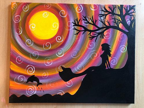 """Mermaid Sunset"" Acrylic Painting on 16 x 20 Canvas"