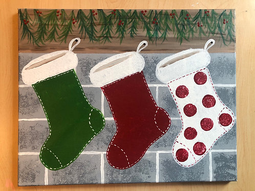 """Christmas Stockings"" Acrylic Painting on 16 x 20 Canvas"
