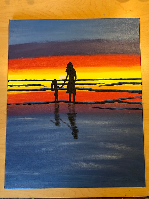 """""""Mother & Daughter"""" Acrylic Painting on 16 x 20 Canvas"""