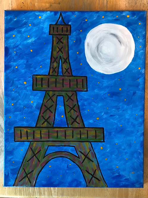 """Eiffel Tower"" Acrylic Painting on 16x20 Canvas"