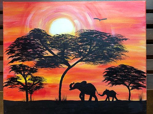 """Elephants on Safari"" Acrylic Painting on 16 x 20 Canvas"