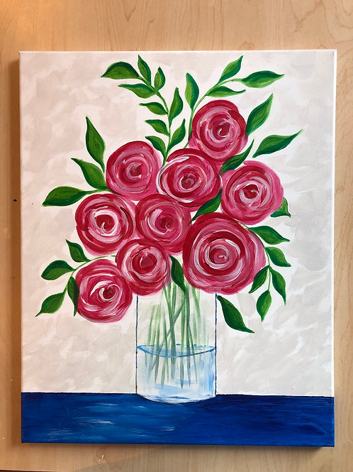 """Spring Flowers"" Acrylic Painting on 16"" x 20"" Stretched Canvas"