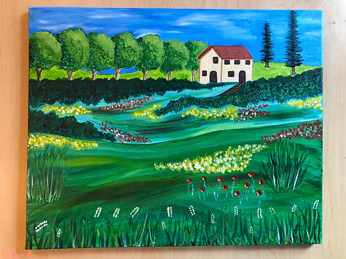 """""""Summer in Tuscany"""" Acrylic Painting on 16 x 20 Canvas"""