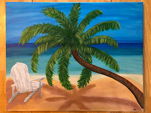 """Palm Tree Beach"" Acrylic Painting on 16"" x 20"" Stretched Canvas"