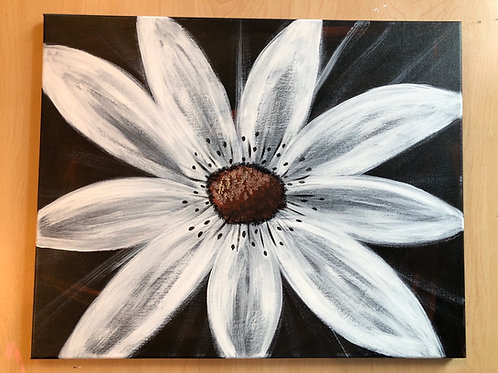 """White Daisy"" Acrylic Painting on 16 x 20 Canvas"