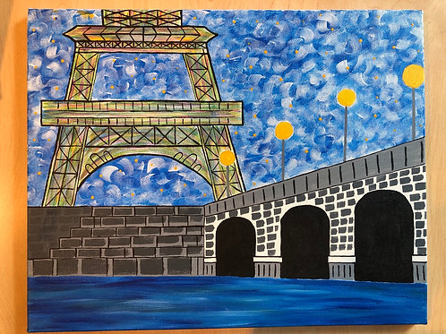 """Paris"" Acrylic Painting on 16 x 20 Canvas"