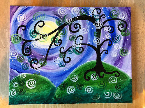 """Magical Tree"" Acrylic Painting on 16x20 Canvas"