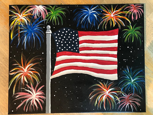 """Fireworks"" Acrylic Painting on 16x20 Canvas"