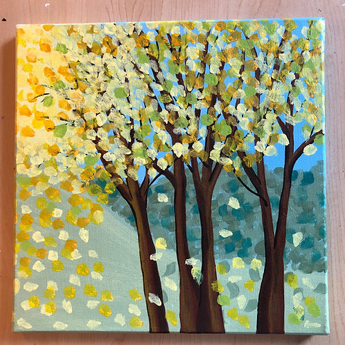 """Maple Trees"" Acrylic Painting on 12 x 12 Canvas"