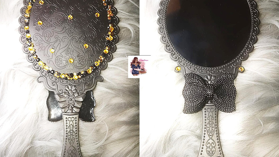 Black & Gold Oval Antique Vintage Hand Mirror
