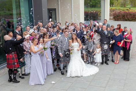 Full Wedding Confetti Group Shot Meldrum House