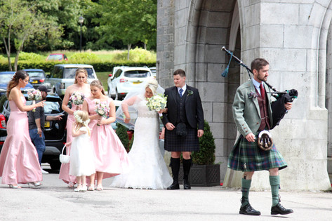 Bridal party arrival with Piper Ardoe House Hotel, Aberdeen, Scotland