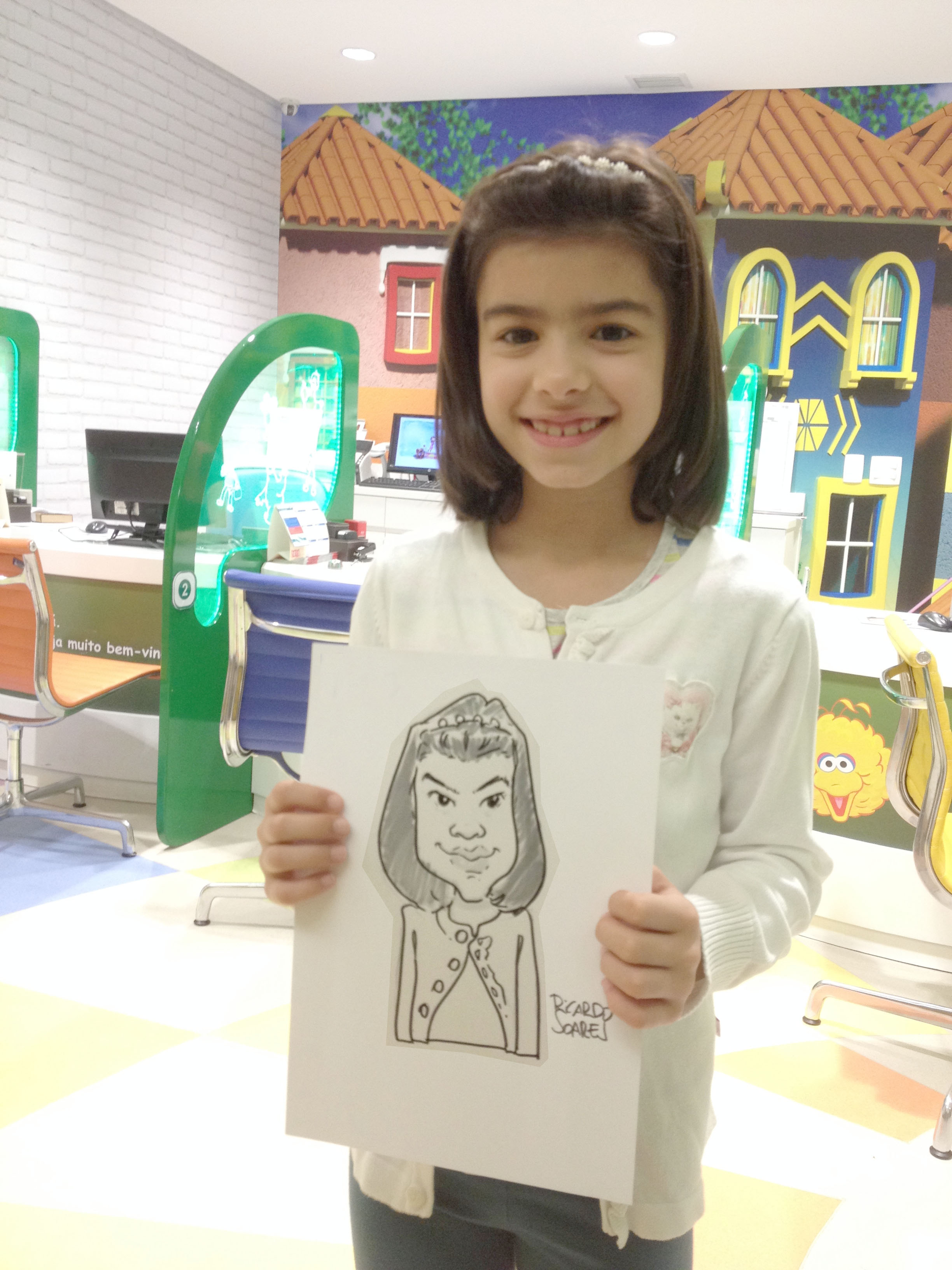 Caricatura ao viv de menina