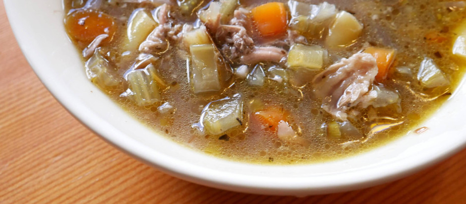 Turkey and vegetable bone broth soup