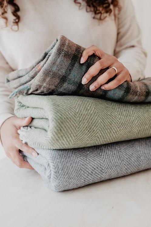 Recycled Wool Blanket Olive Herringbone