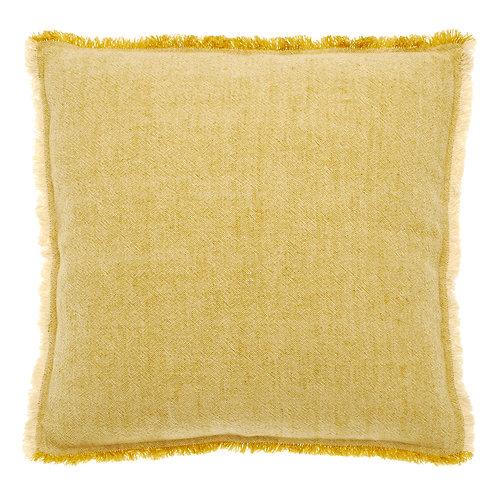 Linen Blend Fringed Cushion Mustard
