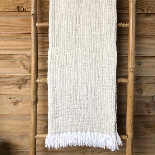 Double Sided Cotton Throw White/Cream