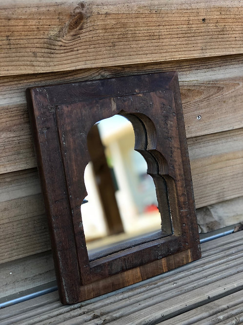 Indian Wooden Mirror Natural