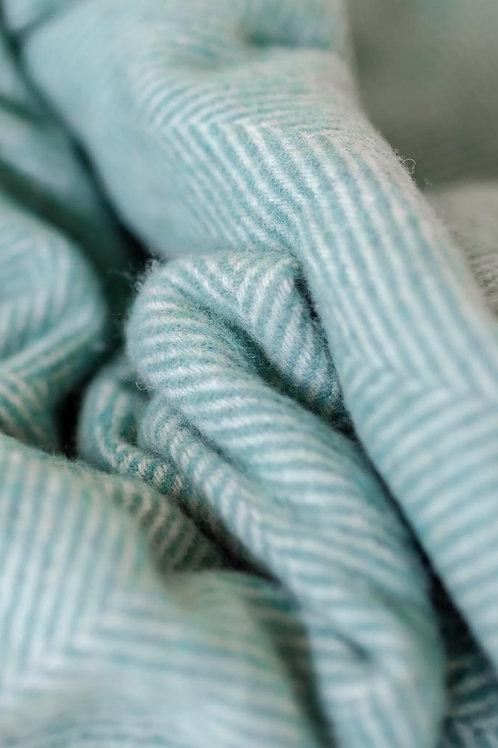 Recycled Wool Blanket Seafoam Herringbone
