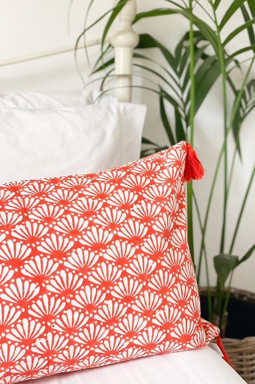 Orange Lotus Hand Block Printed Cushion