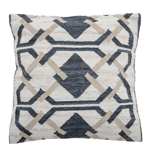 Wool Navy Taupe Cushion