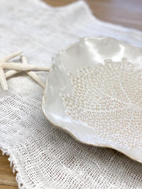 Floral Ceramic Plate Cream