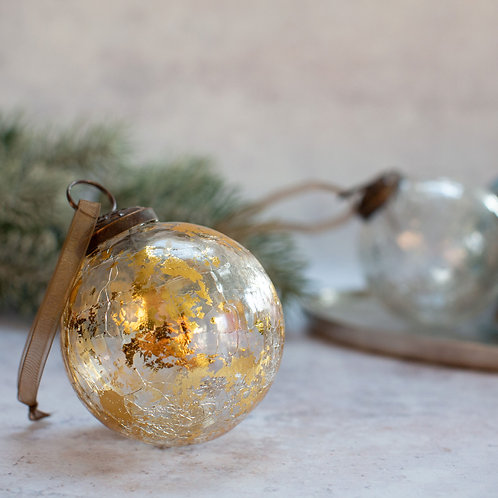 Handblown Clear Glass Bauble with Gold Foil