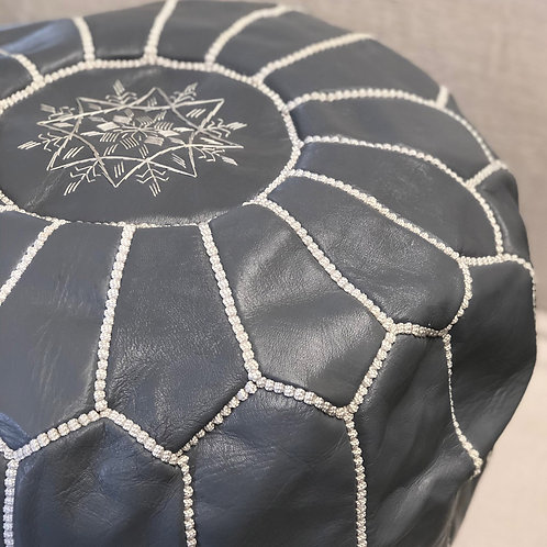 Moroccan Leather Pouffe Grey