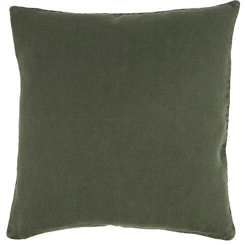 Plain Linen Cushion Green
