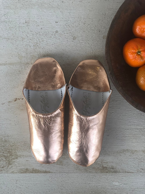 Moroccan Leather Babouche Metallic Rose Gold