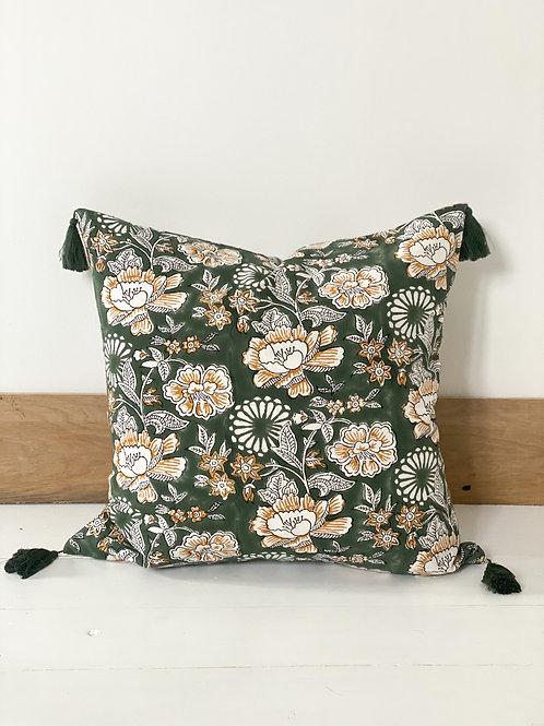 Green Floral Hand Block Printed Cushion