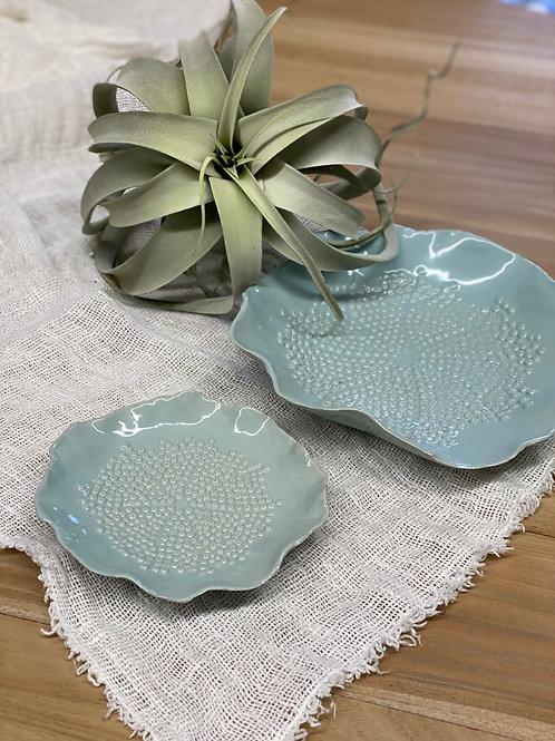 Floral Ceramic Plate Aqua