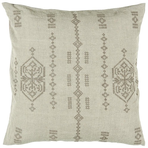 Taupe Embroidered Cushion