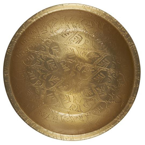 Antique Brass Finish Bowl with Leaf Design