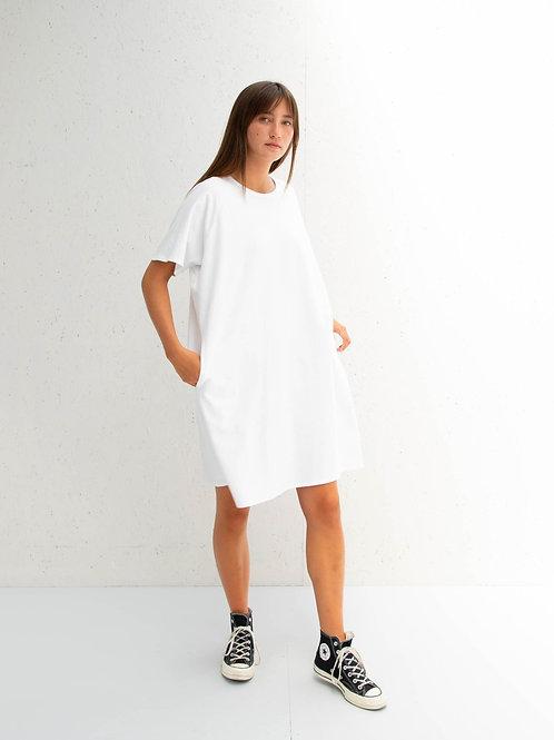 Loose Short Sleeve Dress White