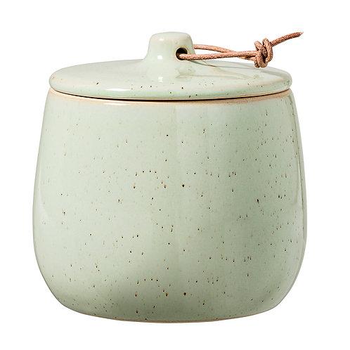 Green Lidded Stoneware Jar