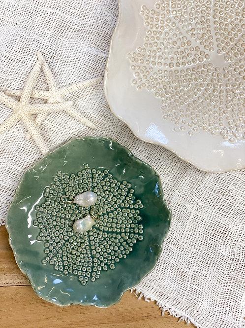 Floral Ceramic Plate Green