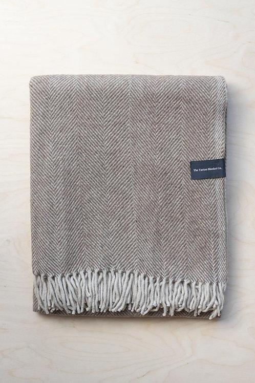 Recycled Wool Blanket Natural Herringbone