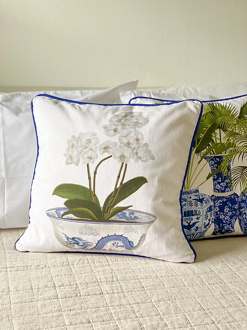 Potted White Orchid Cushion