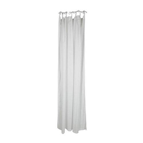 Cotton Tie Top Curtain Panel White