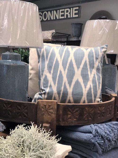 Silk Ikat Cushion Ice Blue