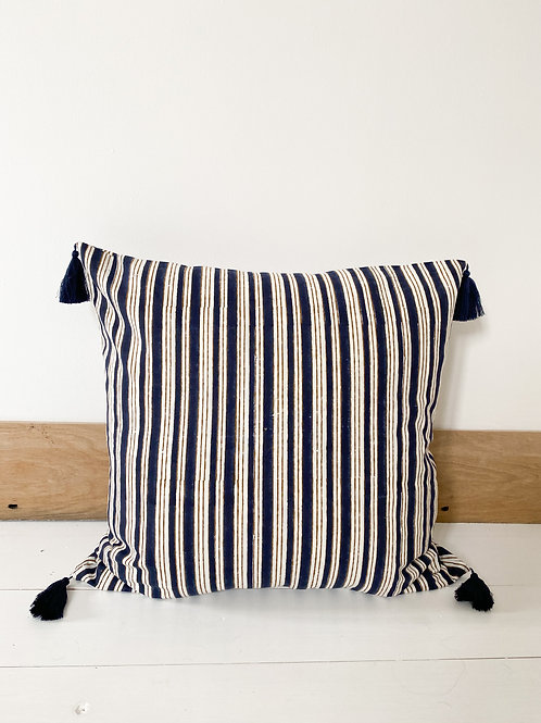 Navy Stripe Hand Block Printed Cushion