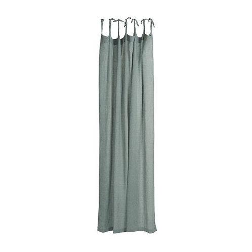 Cotton Tie Top Curtain Panel Denim Blue
