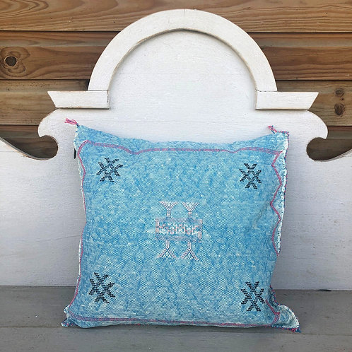 Cactus Silk Cushion Blue
